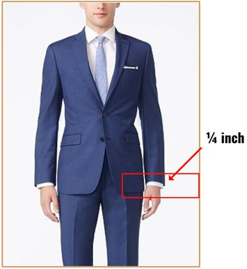 Illustration of suit sleeve length