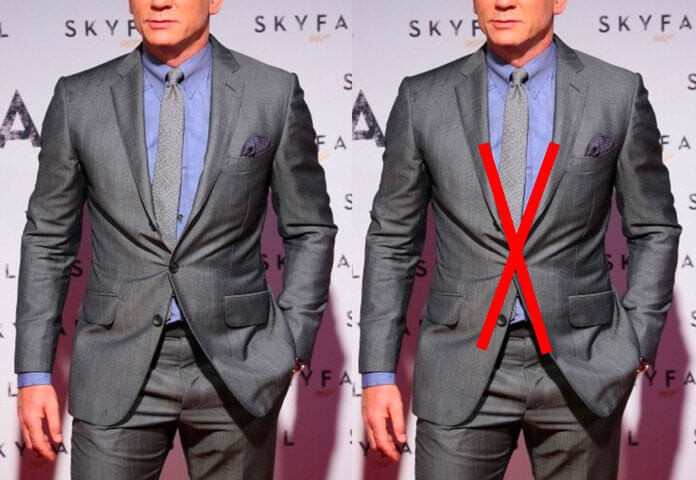 Illustration of suit button stance