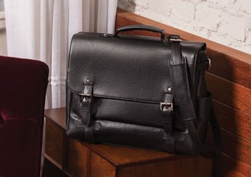 Men's black leather briefcase