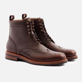 Brown wing tip boots