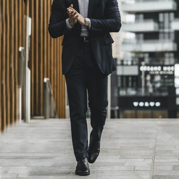Man wearing suit and dress shoes