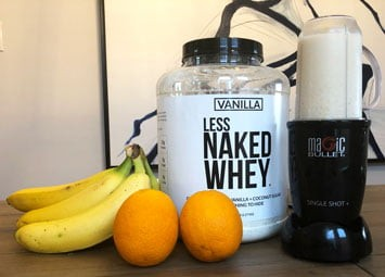 Naked Nutrition's Less Naked Whey Protein and the Magic Bullet blender