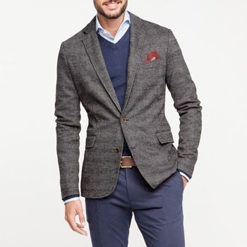Grey blazer with blue sweater