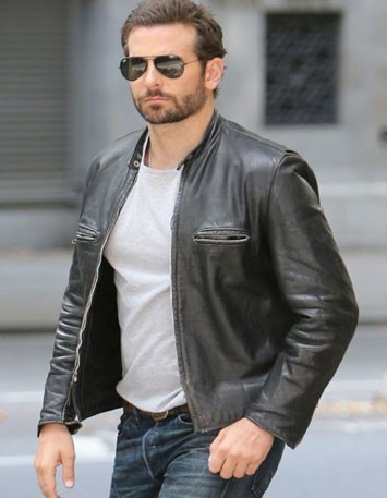 Bradley Cooper wearing leather jacket in Burnt