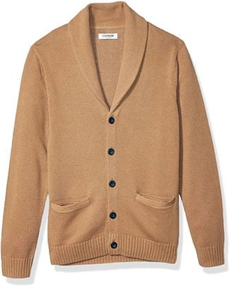 Beige shawl collar cardigan sweater