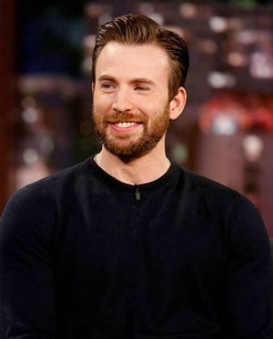 Chris Evans with a beard on a talk show