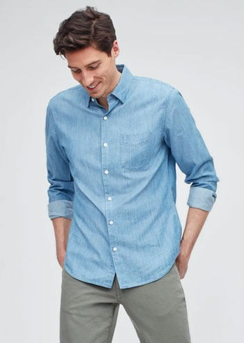 Men's light blue chambray shirt