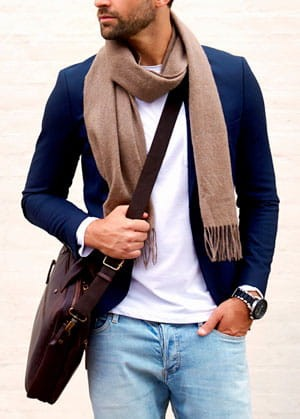 Stylish man wearing lightweight scarf