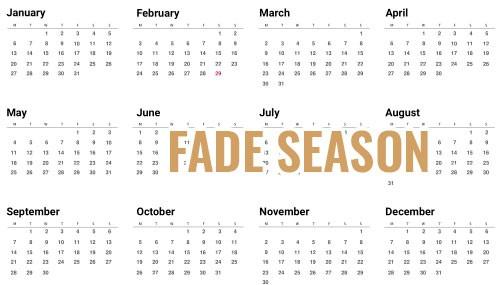 Calendar showing when to get a fade haircut