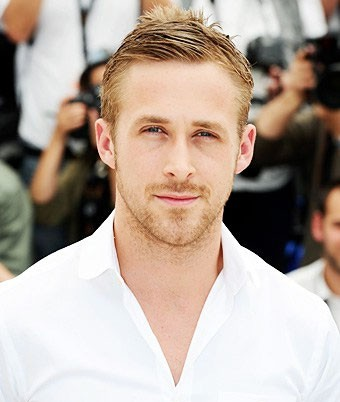 Ryan Gosling with tapered hair and white shirt