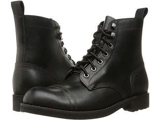 Black leather combat boots