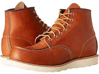 Red wing brown leather moc toe boots