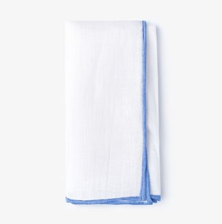 White pocket square with blue lining