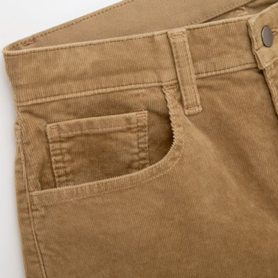 Close up of thin wailed corduroy pants
