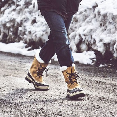 Man walking in Sorel snow boots