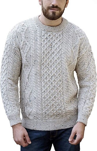 Aran Crafts grey cable knit sweater