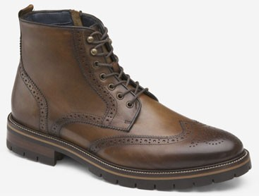 Johnston & Murphy brown leather wingtip boots