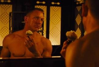 Daniel Craig as James Bond shaving