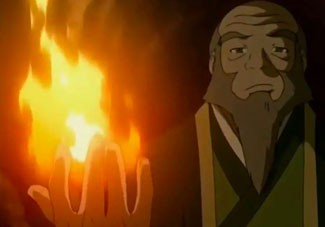 Uncle Iroh from Avatar The Last Airbender bends fire