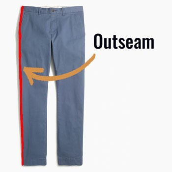 The outseam on blue pair of pants