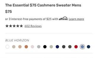 Screenshot showing Naadam Cashmere Essential Sweater colors