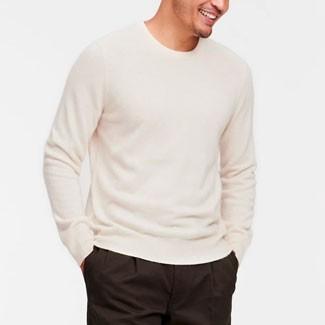 The Naadam Cashmere Essential Sweater in white