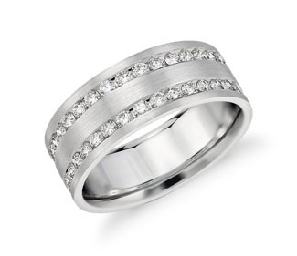 Double Inlay Diamond Wedding Ring