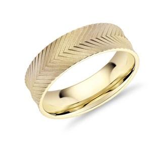 Herringbone Engraved Wedding Band