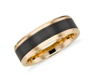 Black Titanium and 14k Yellow Gold Ring
