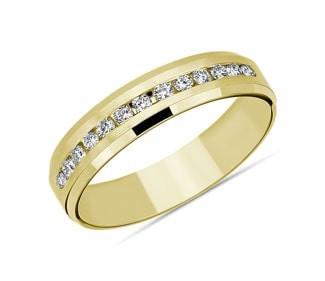 Beveled Edge Channel-Set Diamond Wedding Ring