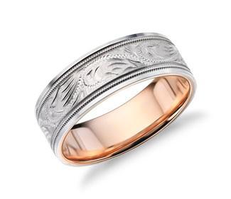 Two-Tone Paisley Wedding Ring