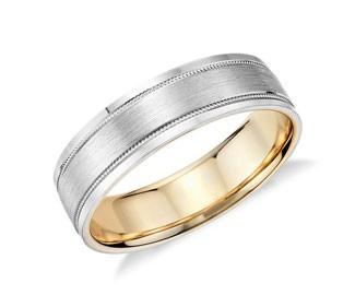 Milgrain Brushed Inlay Wedding Ring