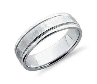 Hammered Milgrain Comfort Fit Wedding Ring