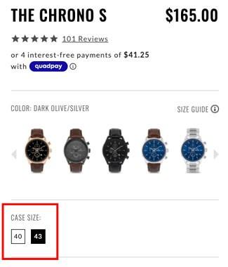 Screenshot of Case Size on the Vincero Watch website