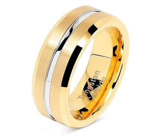 Grooved Two Tone Tungsten Wedding Ring