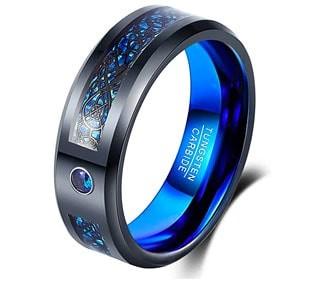 Blue Tungsten Cubic Zirconia Ring