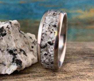 Custom Titanium Ring with Granite Inlay