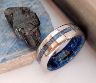 Titanium Wedding Band with Mixed Raw Stone