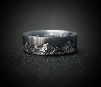 Mountain Range Titanium Ring
