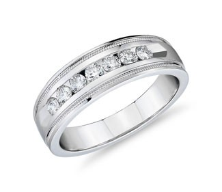 Milgrain Channel Set Diamond Wedding Ring