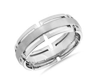 Modern Link Edge Wedding Ring