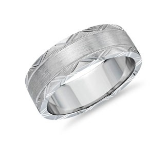 Geometric Rollover Engraved Band