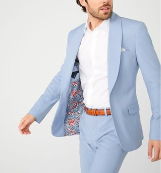 Man wearing light blue suit