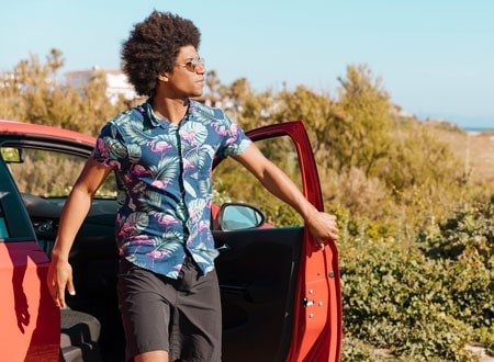 Man in colorful patterned short sleeve shirt