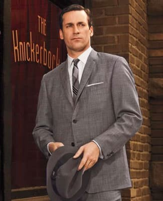 Don Draper in a grey suit