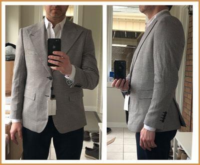 Wearing Alain Dupetit jacket in mirror