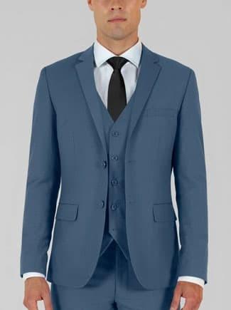 Alain Dupetit slate blue three piece suit