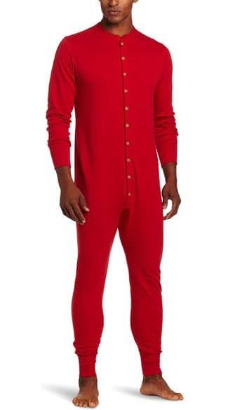 Black man wearing red long underwear