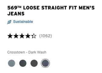 Screenshot showing colors on Levis website