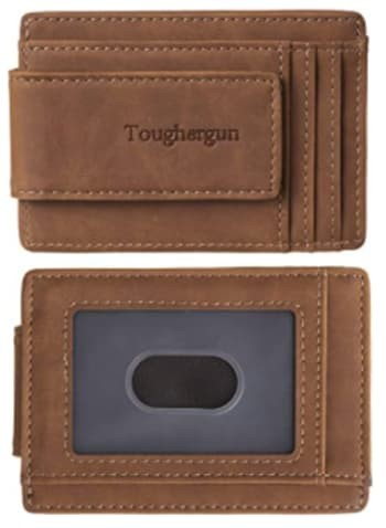 Toughergun Genuine Leather Money Clip Wallet